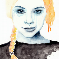 Limited Edition A4 Art Print 'Happy Tears' Illustration Portrait Painting
