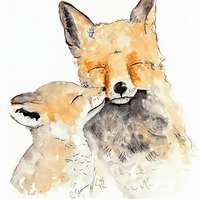 With Love and Fur Fox Illustration Limited Edition A4 Art Print