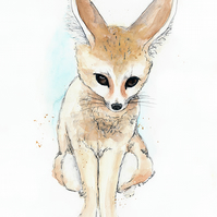 Little Fennec Fox Illustration Limited Edition A4 Art Print
