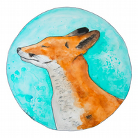Limited Edition A4 Art Print 'The Happy Fox' Illustration Painting