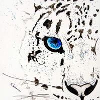 Limited Edition A4 Art Print 'Snow Tiger' Illustration Painting