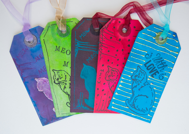 5 Handcrafted Gift Tags Kittens, Cats, metallic, Stamps, scrapbooking, ribbon