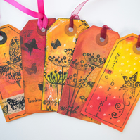5 Handcrafted Gift Tags, Butterfly, Floral, Silhouette, Sunset Scrapbook, Ribbon