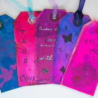 5 Handcrafted Gift Tags, Butterfly, Love Birds, Silhouette, Scrapbook, Ribbon