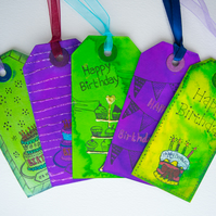 5 Handcrafted Happy Birthday Gift Tags, Birthday Cake, Cupcake Scrapbook, Ribbon