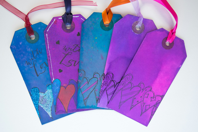 5 Handcrafted Gift Tags, With Love, Love Hearts, Sweethearts, Scrapbook, Ribbon