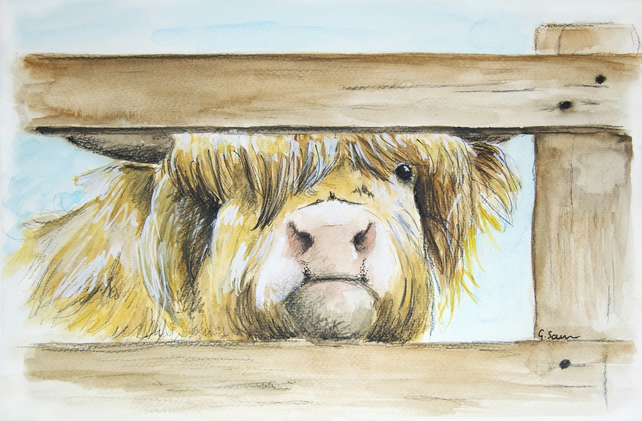 Crocky Park Moo Cow Watercolor and Charcoal Painting in Mount