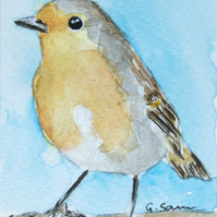 ORIGINAL ACEO No.22 'Robin Redbreast' Watercolor Bird Illustration Painting