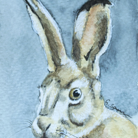 ORIGINAL ACEO No.24 'Old Hare' Mixed Media Watercolor & Charcoal Painting
