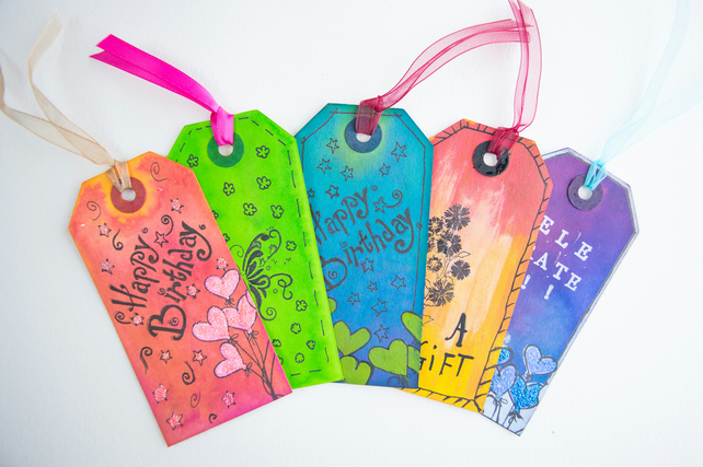 5 Handcrafted Happy Birthday Gift Tags, Hearts, Glitter, Scrapbook, Ribbon