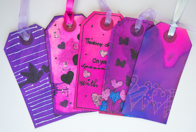 5 Handcrafted Gift Tags, Glitter Hearts, Love, Butterflies, Scrapbook, Ribbon