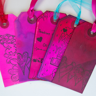 5 Handcrafted Gift Tags, Thinking of You, Love, Hearts, Scrapbook, Ribbon