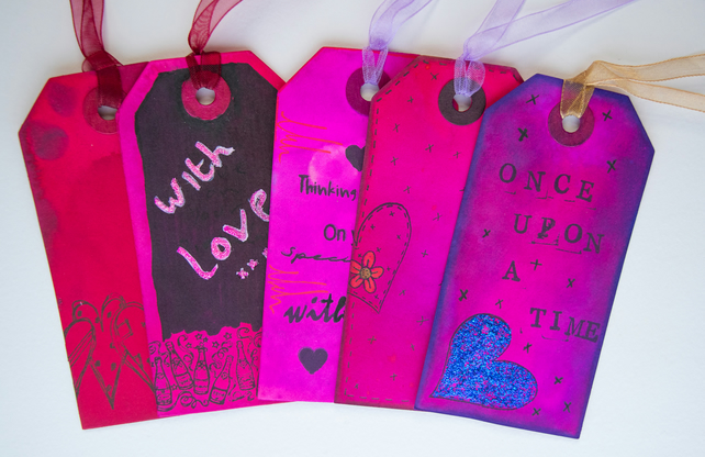 5 Handcrafted Gift Tags, Thinking of You, pink, Love, Hearts, Scrapbook, Ribbon