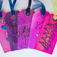 5 Handcrafted Gift Tags, Best Wishes, pink, Love, Hearts, Scrapbook, Ribbon