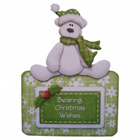 Bearing Christmas Wishes Polar Bear Christmas Card Handcrafted 3D Decoupage