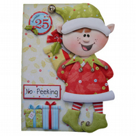Bearing Christmas Gifts 3D Decoupage Special Handmade Christmas Card Santa's Elf