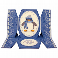 Cool Yule Cracker Shaped Special Handmade 3D Decoupage Christmas Card Penguin