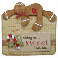 Gingerbread Man Christmas Card 3D Decoupage with Matching Envelope
