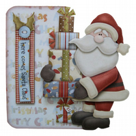 Here Comes Santa Christmas Card Hand Crafted 3D Decoupage Matching Envelope