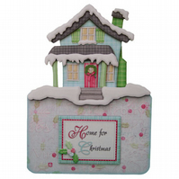 Home For Christmas Handcrafted 3D Decoupage Christmas Card & Matching Envelope
