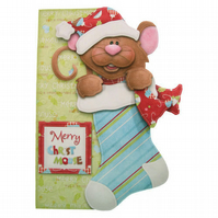 Merry Christmouse 3D Decoupage Card Handcrafted Christmas Card