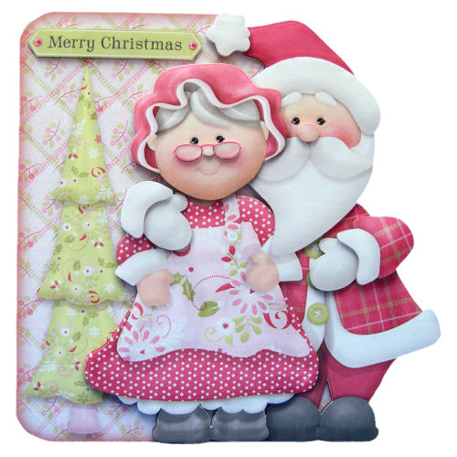 Mr and Mrs Christmas Special Handmade 3D Decoupage Christmas Card Santa