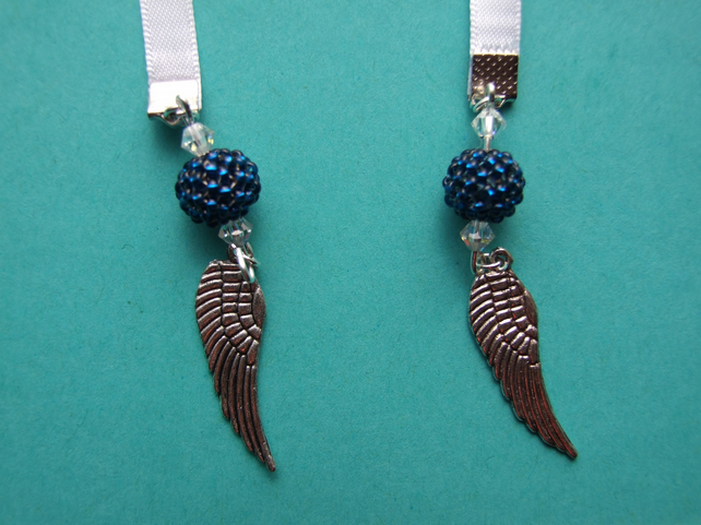 Handcrafted Angel Wings Charm Ribbon Bookmark White, Silver & Blue Ideal Gift