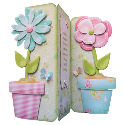 Flower Pots Card 3D Decoupage Birthday Card Large Tri-fold 3 Panel Special Card