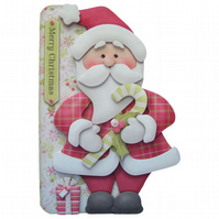 Jolly Santa Christmas Card 3D Decoupage with Matching Envelope Santa Claus