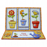 Flower Pots Card 3D Decoupage Birthday Card Everything Grows With Love Floral
