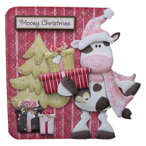 Mooey Christmas 3D Decoupage Handcrafted Christmas Card Fun Cards Cow Unusual