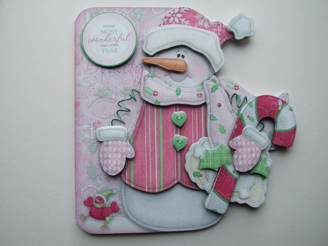 Snowman in Pink or SnowLady 3D Decoupage Card Christmas Card & Matching Envelope