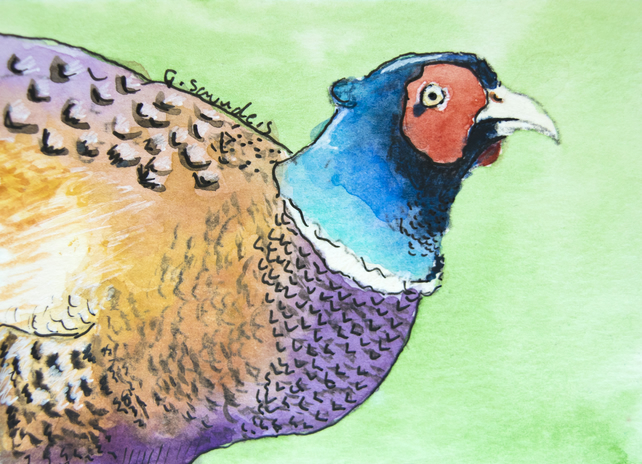 ORIGINAL ACEO No.42 'Pheasant' Wildlife Watercolor & Charcoal Painting