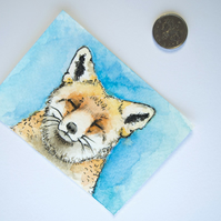 ORIGINAL ACEO No.43 'Peace Fox' Wildlife Watercolor & Charcoal Painting