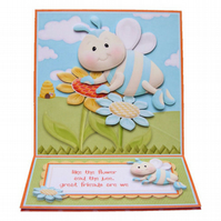 Flower and Bee Birthday Easel Card Handcrafted 3D Decoupage Greetings Card