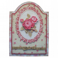 Antique Roses Handcrafted 3D Decoupage Birthday Greetings Card Mum