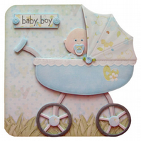 New Baby Boy Pram Shaped Card Handcrafted 3D Decoupage Birth Congratulations