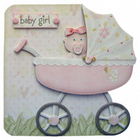 New Baby Girl Pram Shaped Card Handcrafted 3D Decoupage Birth Congratulations
