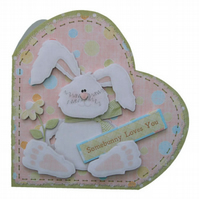 Bunny Greetings Card 3D Decoupage Hoppy Birthday Somebunny Loves You Easter
