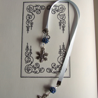 Handcrafted Snowflake Charm Ice Blue Ribbon Bookmark Silver & Blue Beaded Beads