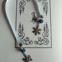 Handcrafted Snowflake Charm Ice Blue Ribbon Bookmark Beaded Beads & Frosted Bead