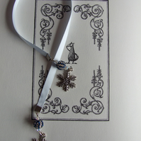 Handcrafted Snowflake Charm Ice Blue Ribbon Bookmark Beaded Beads Stripe Pattern