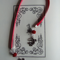 Handcrafted Lizard Charm Red Ribbon Bookmark Beaded Beads Books Reading
