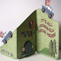 Over the Hill 3D Decoupage Cascade Birthday Card Old Timer Any Age Can Be Added