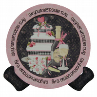 On Your Wedding Day Plate Shaped Card 3D Decoupage Greetings With Stand