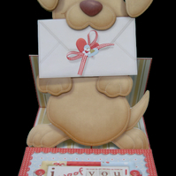 Woof! Cute Dog Easel Card Handcrafted 3D Decoupage Greetings Card I Woof You