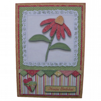 Birthday Red Patchwork Daisy 3D Decoupage Card with Matching Envelope