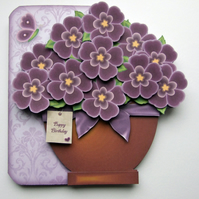 Pretty Purple Pot Plant Hand Crafted 3D Decoupage Card Birthday & Other Options