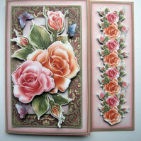 Large Hand Crafted 3D Decoupage Birthday Card Roses, Mum, Sister, etc