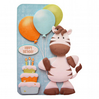Party Zebra Birthday Card 3D Decoupage Card Handcrafted Children's Birthday Card